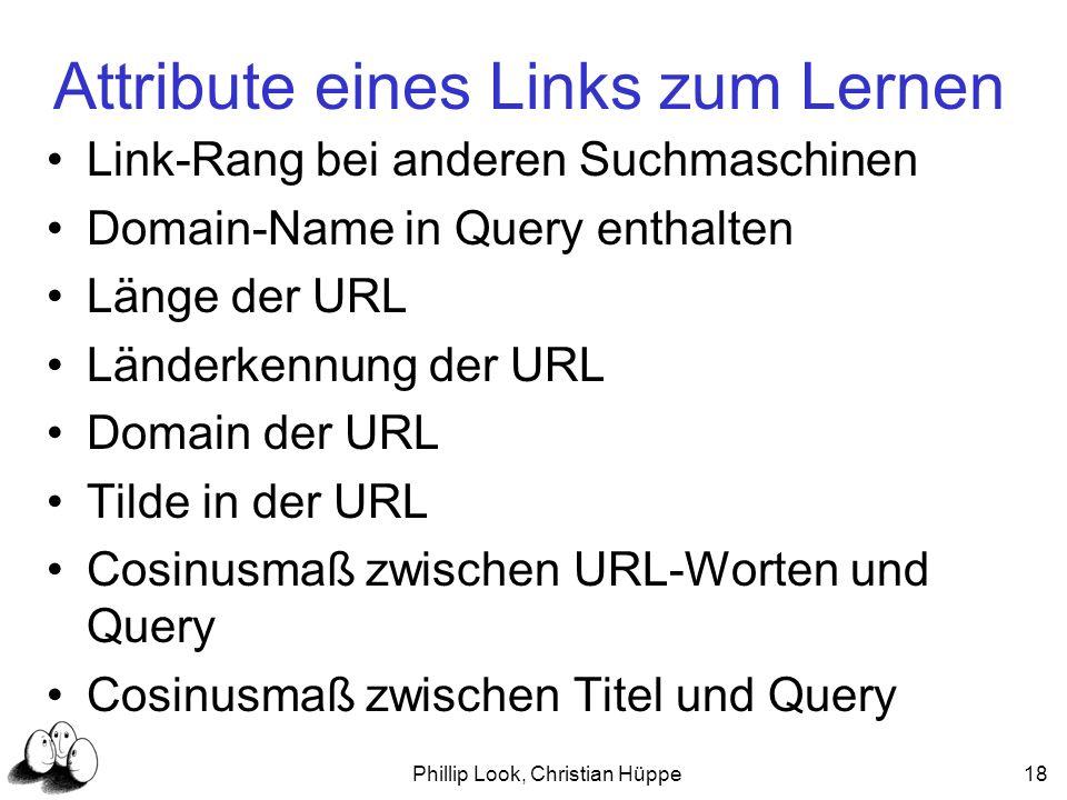 Phillip Look, Christian Hüppe18 Attribute eines Links zum Lernen Link-Rang bei anderen Suchmaschinen Domain-Name in Query enthalten Länge der URL Länd