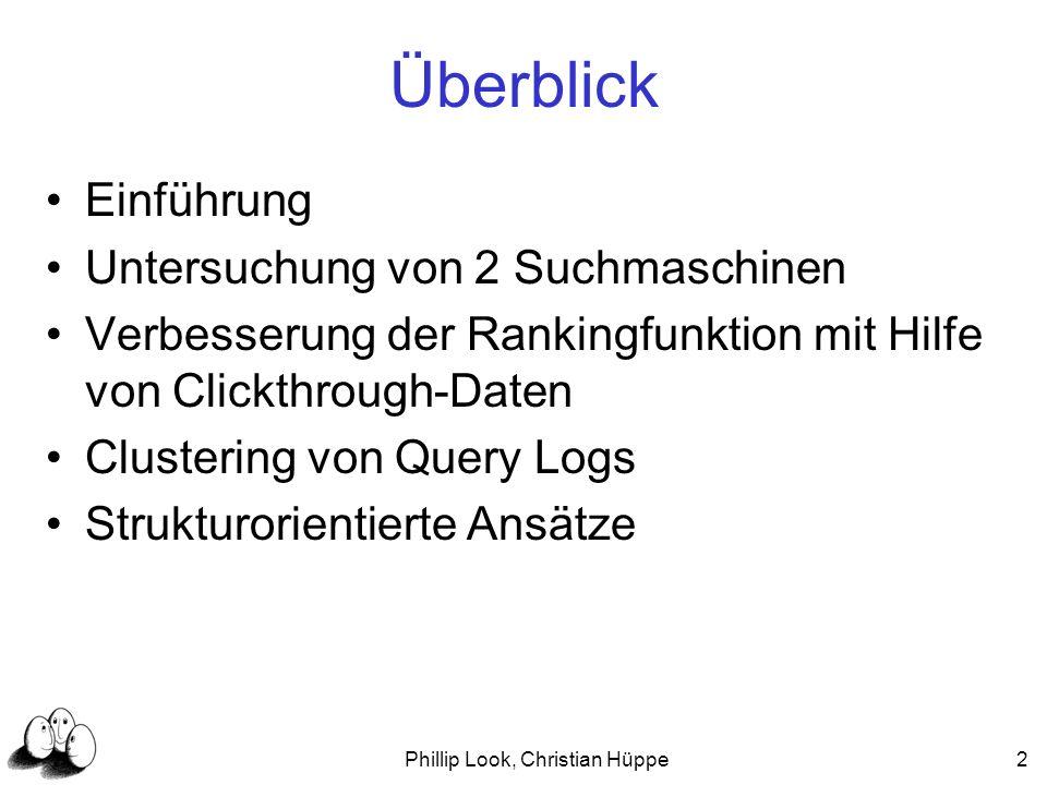 Phillip Look, Christian Hüppe23 Clustering von Query Logs Daten Clickthroughdaten {Query, ausgewählte URLs} Betrachtung der Daten als Graph Konten Queries und URLs Kanten Zusammenhang: Query und URL Besonderheit Inhalt der URLs wird ignoriert