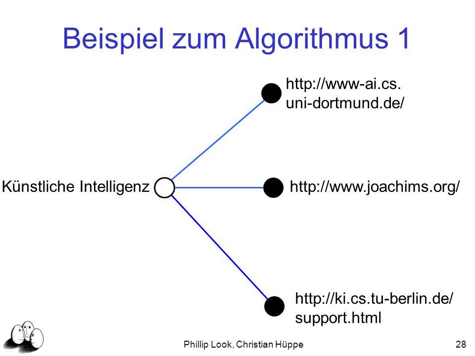 Phillip Look, Christian Hüppe28 Beispiel zum Algorithmus 1 Künstliche Intelligenz http://www-ai.cs. uni-dortmund.de/ http://www.joachims.org/ http://k
