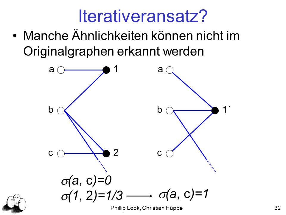 Phillip Look, Christian Hüppe32 Iterativeransatz? Manche Ähnlichkeiten können nicht im Originalgraphen erkannt werden a c b 1 2 a c b1´ (a, c)=0 (1, 2