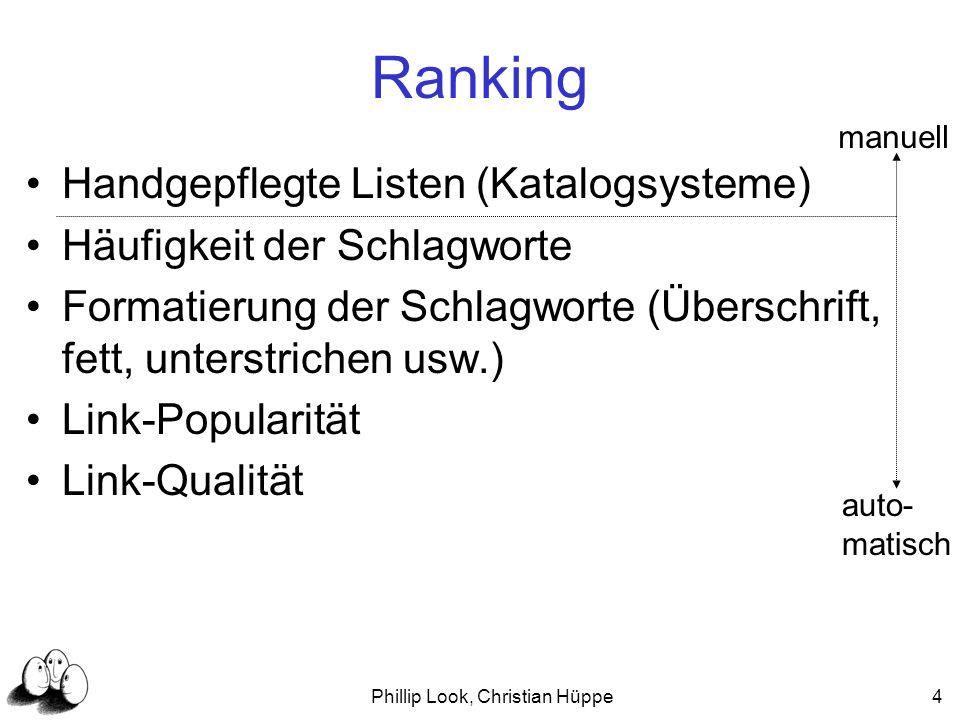 Phillip Look, Christian Hüppe25 Clustering Algorithmus Clustering von queries Beispiel: Benutzer stellt Anfrage q q Cluster C System schlägt andere queries aus C vor Gute Unterstützung, bei unbefriedigendem Ergebnis