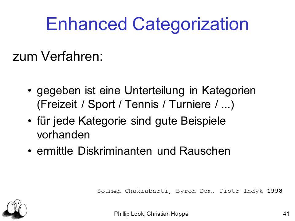 Phillip Look, Christian Hüppe41 zum Verfahren: gegeben ist eine Unterteilung in Kategorien (Freizeit / Sport / Tennis / Turniere /...) für jede Katego