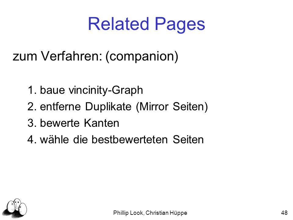 Phillip Look, Christian Hüppe48 Related Pages zum Verfahren: (companion) 1. baue vincinity-Graph 2. entferne Duplikate (Mirror Seiten) 3. bewerte Kant