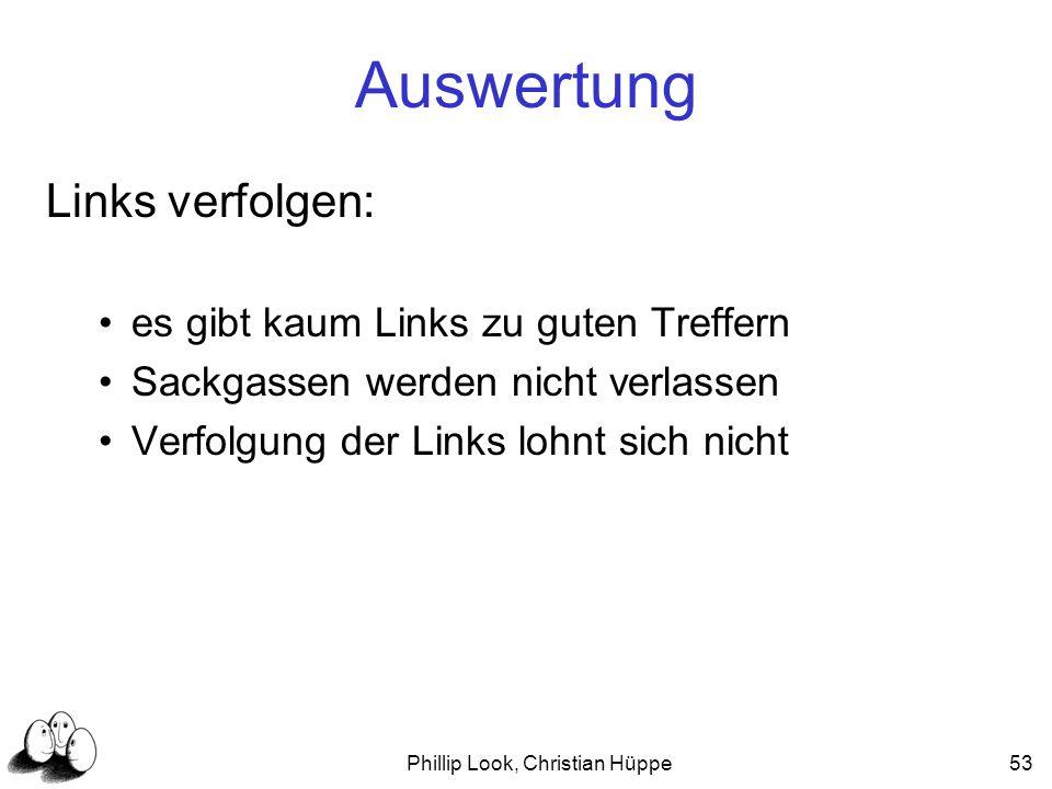 Phillip Look, Christian Hüppe53 Auswertung Links verfolgen: es gibt kaum Links zu guten Treffern Sackgassen werden nicht verlassen Verfolgung der Link