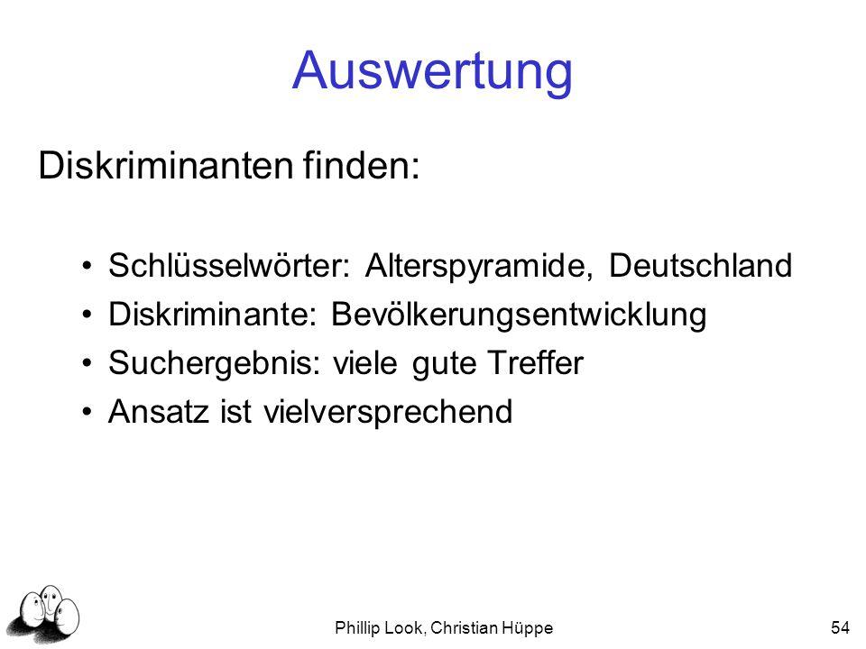 Phillip Look, Christian Hüppe54 Auswertung Diskriminanten finden: Schlüsselwörter: Alterspyramide, Deutschland Diskriminante: Bevölkerungsentwicklung