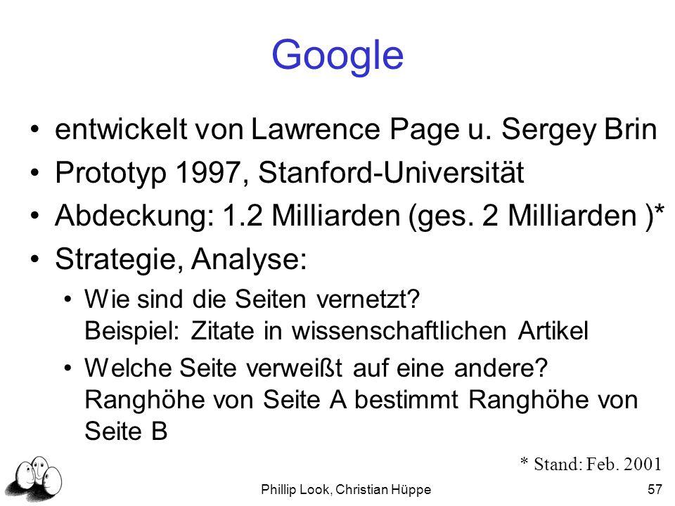 Phillip Look, Christian Hüppe57 Google entwickelt von Lawrence Page u. Sergey Brin Prototyp 1997, Stanford-Universität Abdeckung: 1.2 Milliarden (ges.
