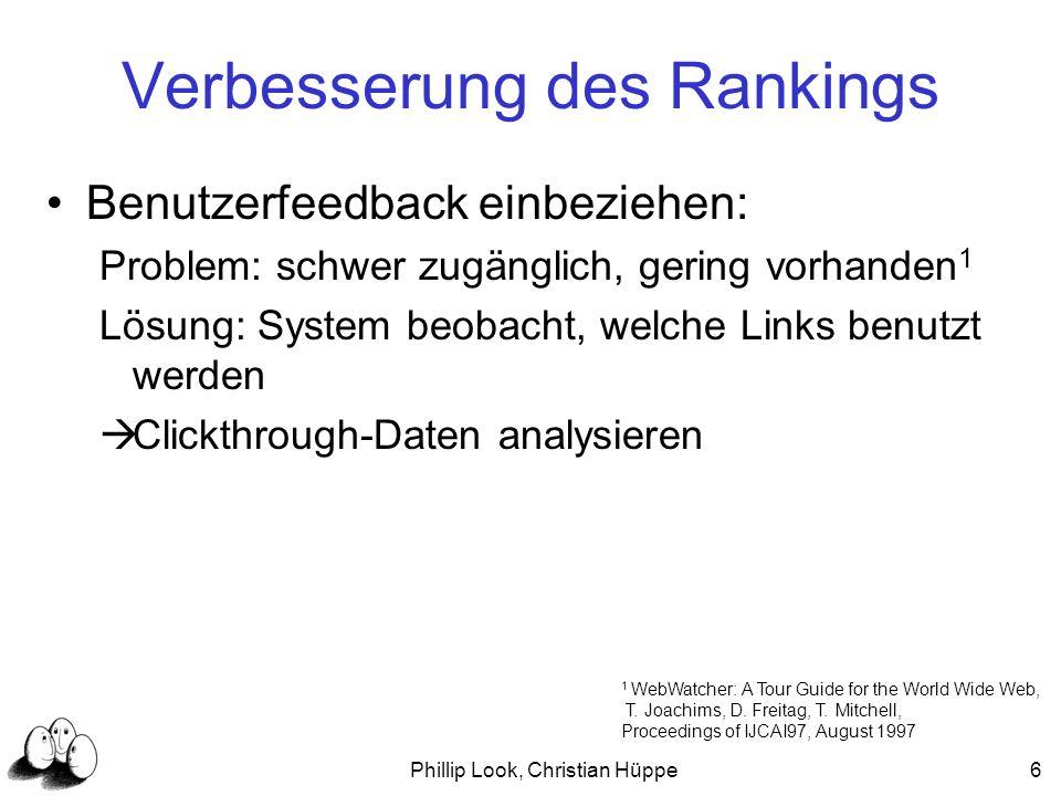 Phillip Look, Christian Hüppe17 Lernen einer Rankingfunktion mit der SVM Vereinfache das Problem in ein binäres Klassifikations-Problem relevanter Link unrelevanter Link Trainingmenge mit queries q und (optimales) Zielranking r* (q 1,r* 1 ), (q 2,r* 2 ),..., (q n,r* n ).