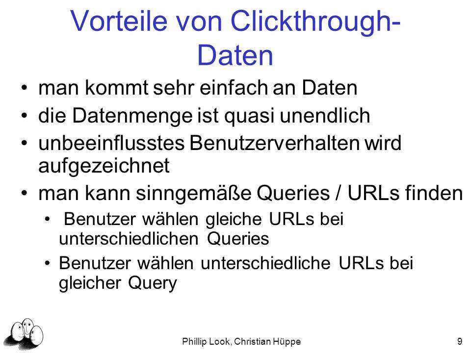 Phillip Look, Christian Hüppe9 Vorteile von Clickthrough- Daten man kommt sehr einfach an Daten die Datenmenge ist quasi unendlich unbeeinflusstes Ben