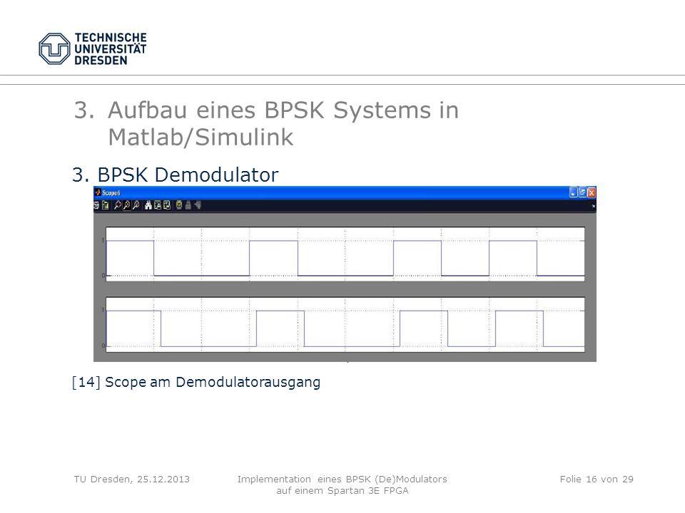 TU Dresden, 25.12.2013Implementation eines BPSK (De)Modulators auf einem Spartan 3E FPGA Folie 16 von 29 3.Aufbau eines BPSK Systems in Matlab/Simulin