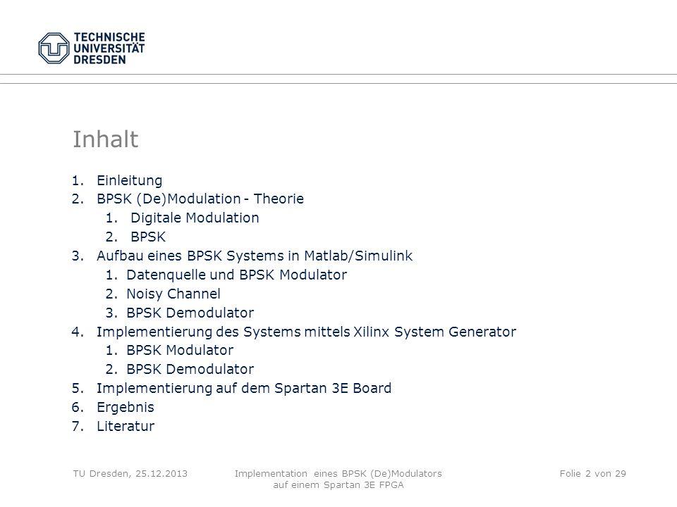 Inhalt 1.Einleitung 2.BPSK (De)Modulation - Theorie 1.Digitale Modulation 2.BPSK 3.Aufbau eines BPSK Systems in Matlab/Simulink 1.Datenquelle und BPSK