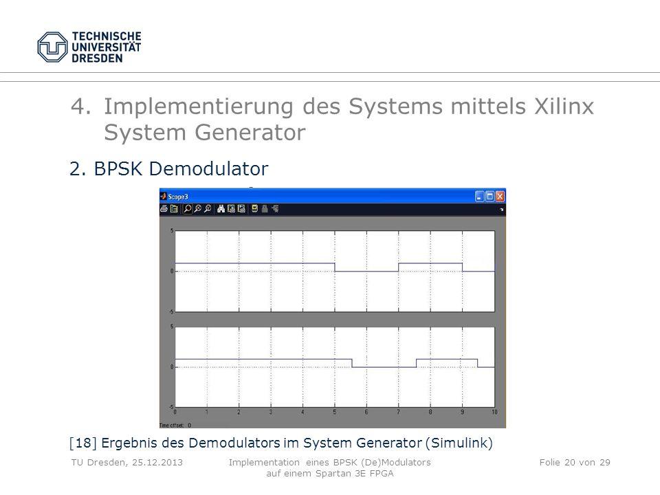 TU Dresden, 25.12.2013Implementation eines BPSK (De)Modulators auf einem Spartan 3E FPGA Folie 20 von 29 4.Implementierung des Systems mittels Xilinx