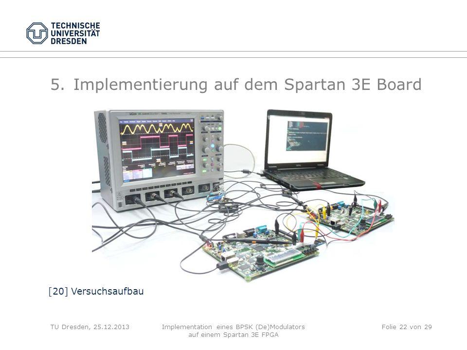 TU Dresden, 25.12.2013Implementation eines BPSK (De)Modulators auf einem Spartan 3E FPGA Folie 22 von 29 5.Implementierung auf dem Spartan 3E Board [2