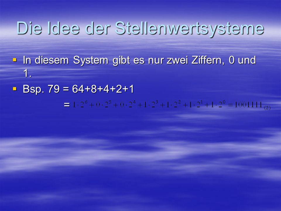 Die Idee der Stellenwertsysteme In diesem System gibt es nur zwei Ziffern, 0 und 1. In diesem System gibt es nur zwei Ziffern, 0 und 1. Bsp. 79 = 64+8