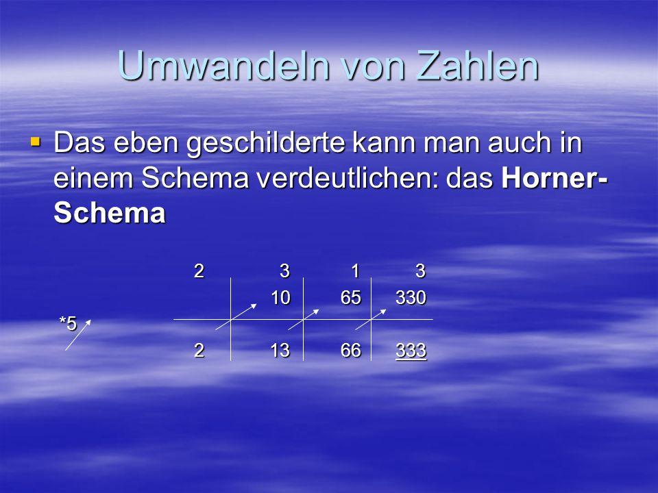 Umwandeln von Zahlen Das eben geschilderte kann man auch in einem Schema verdeutlichen: das Horner- Schema Das eben geschilderte kann man auch in eine
