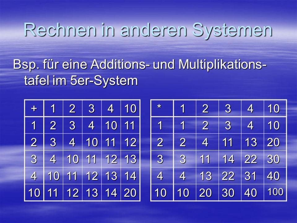 Rechnen in anderen Systemen Bsp. für eine Additions- und Multiplikations- tafel im 5er-System + 1 2 3 410 1 2 3 41011 2 3 4101112 3 410111213 41011121