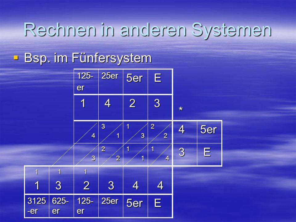 Rechnen in anderen Systemen Bsp. im Fünfersystem Bsp. im Fünfersystem 125-er25er5er E * 1 4 2 3 43 11 32 2 45er 32 21 11 4 3 E 1 1 1 3 1 2 3 4 4 3125