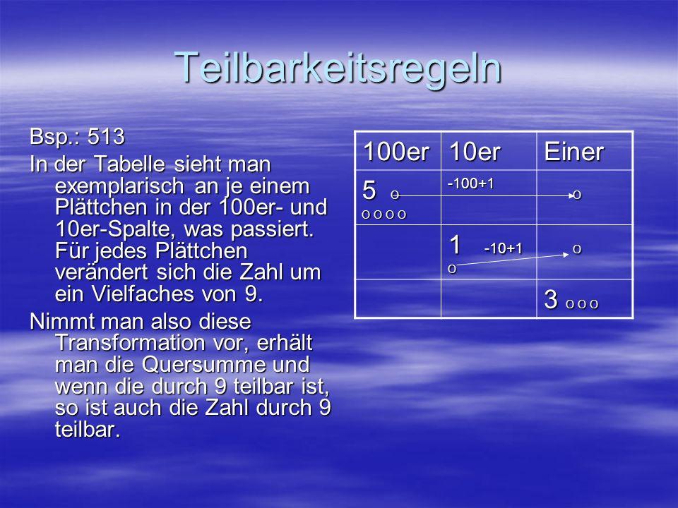 Teilbarkeitsregeln Bsp.: 513 In der Tabelle sieht man exemplarisch an je einem Plättchen in der 100er- und 10er-Spalte, was passiert. Für jedes Plättc
