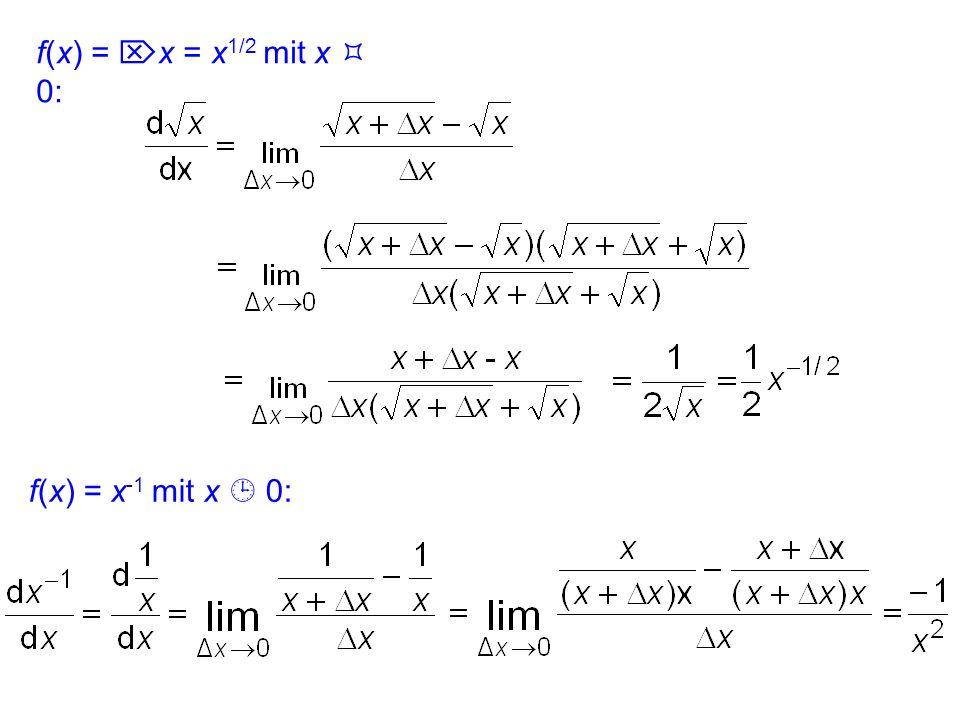 23.1 Ableitungen einfacher Funktionen lineare Funktion f(x) = m x + c mit = : insbesondere gilt für f(x) = c, d.h. m = 0: f´(x) = 0 quadratische Funkt