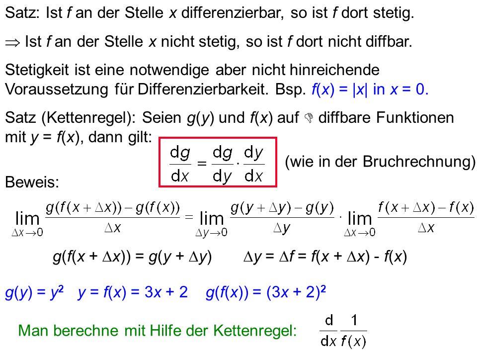f(x) = x 0 f(x) 0x -1 da 0/0 für x = 0 undefiniert wäre. Insbesondere für n : Polynome: jeder Summand wird einzeln abgeleitet.