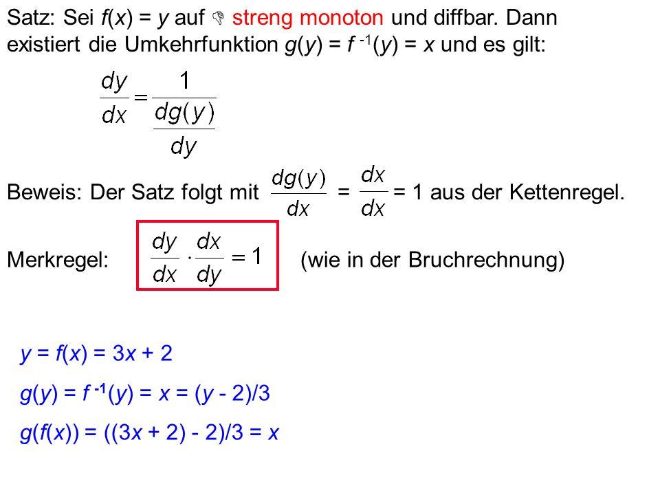 Satz: Ist f an der Stelle x differenzierbar, so ist f dort stetig. Ist f an der Stelle x nicht stetig, so ist f dort nicht diffbar. Stetigkeit ist ein