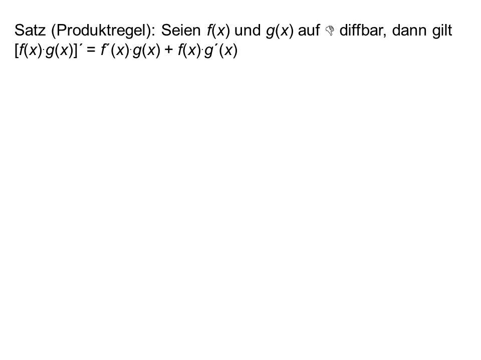Satz: Sei f(x) = y auf streng monoton und diffbar. Dann existiert die Umkehrfunktion g(y) = f -1 (y) = x und es gilt: Beweis: Der Satz folgt mit = = 1