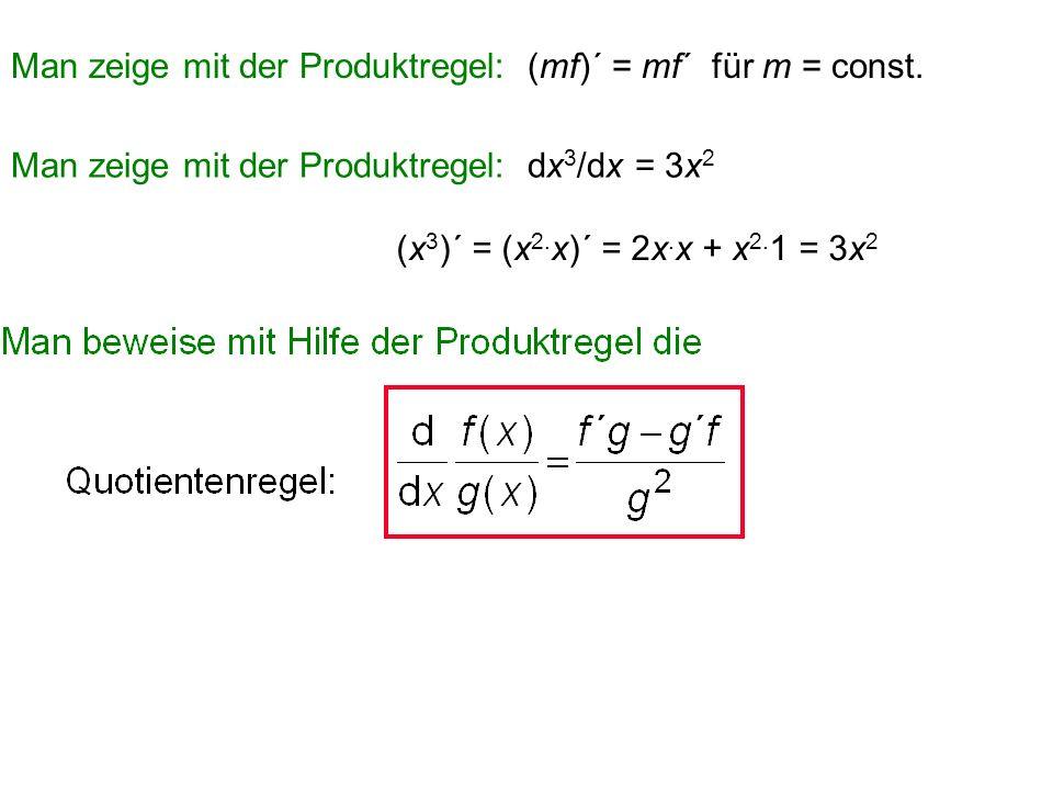 Satz (Produktregel): Seien f(x) und g(x) auf diffbar, dann gilt [f(x). g(x)]´ = f´(x). g(x) + f(x). g´(x) Merkregel: (f. g)´ = f´g + fg´