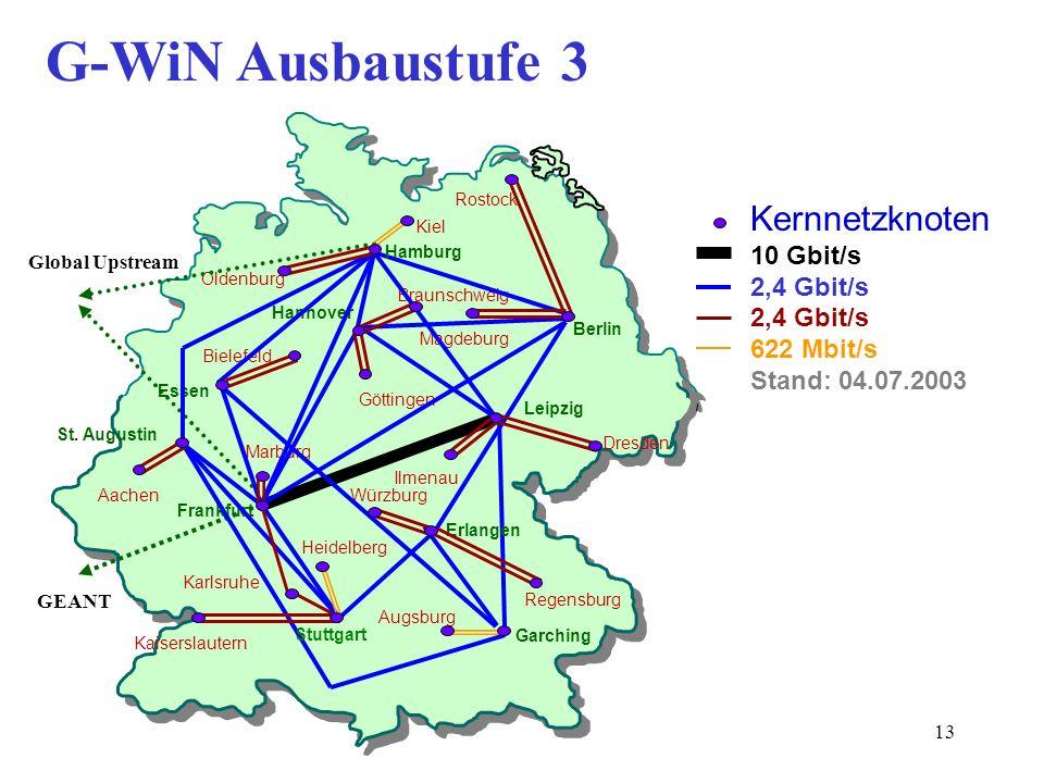 13 G-WiN Ausbaustufe 3 Leipzig Berlin Frankfurt Karlsruhe Garching Kiel Braunschweig Dresden Aachen Regensburg Kaiserslautern Augsburg Bielefeld Hanno