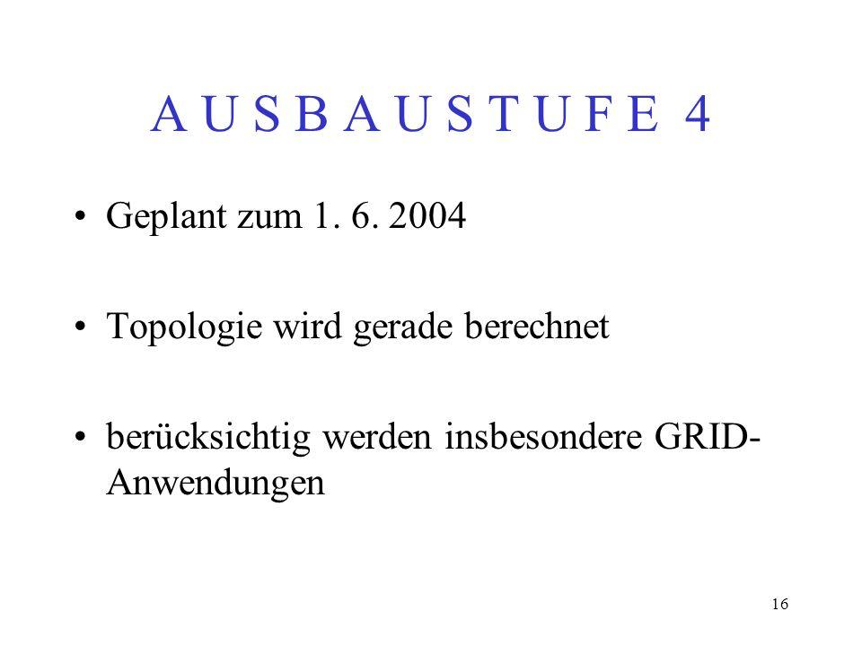 16 A U S B A U S T U F E 4 Geplant zum 1. 6. 2004 Topologie wird gerade berechnet berücksichtig werden insbesondere GRID- Anwendungen