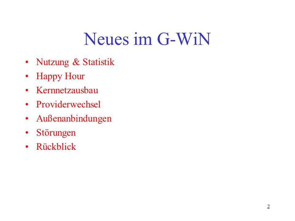2 Neues im G-WiN Nutzung & Statistik Happy Hour Kernnetzausbau Providerwechsel Außenanbindungen Störungen Rückblick