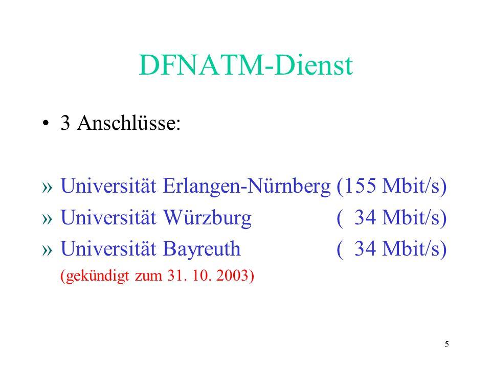 5 DFNATM-Dienst 3 Anschlüsse: »Universität Erlangen-Nürnberg(155 Mbit/s) »Universität Würzburg ( 34 Mbit/s) »Universität Bayreuth ( 34 Mbit/s) (gekünd
