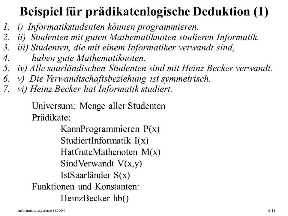 Informationssysteme SS20046-18 Beispiel für prädikatenlogische Deduktion (1) 1.i) Informatikstudenten können programmieren. 2.ii) Studenten mit guten