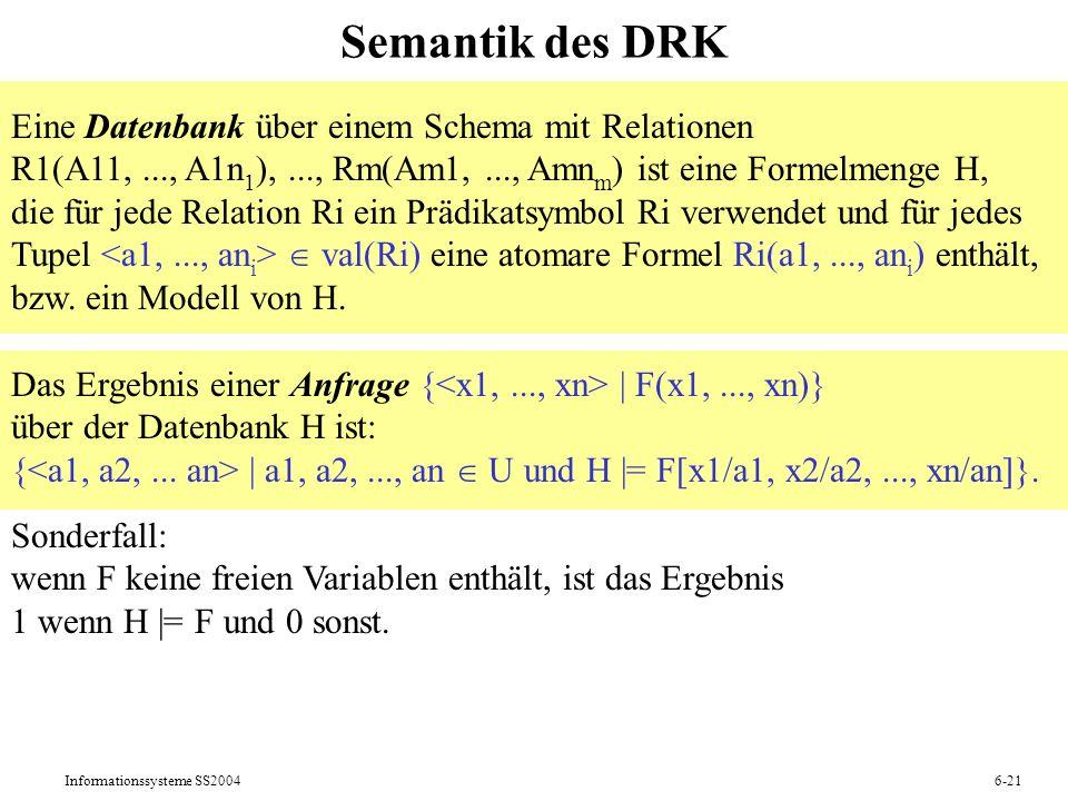 Informationssysteme SS20046-21 Semantik des DRK Eine Datenbank über einem Schema mit Relationen R1(A11,..., A1n 1 ),..., Rm(Am1,..., Amn m ) ist eine