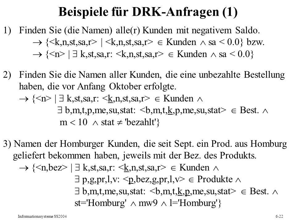 Informationssysteme SS20046-22 Beispiele für DRK-Anfragen (1) 1) Finden Sie (die Namen) alle(r) Kunden mit negativem Saldo. {   Kunden sa   k,st,sa,r: