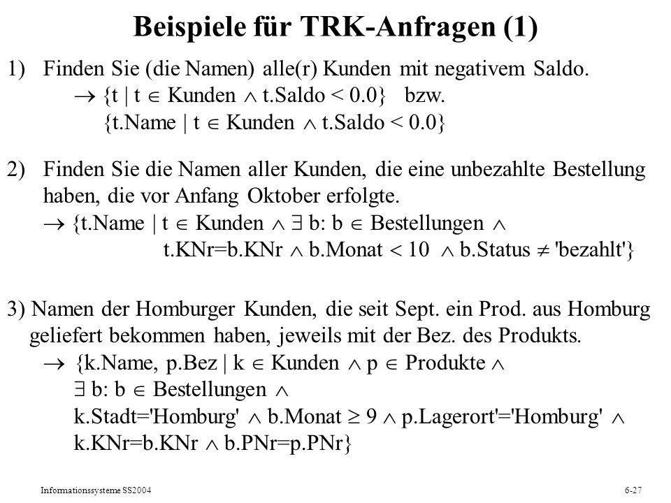 Informationssysteme SS20046-27 Beispiele für TRK-Anfragen (1) 1)Finden Sie (die Namen) alle(r) Kunden mit negativem Saldo. {t   t Kunden t.Saldo < 0.0