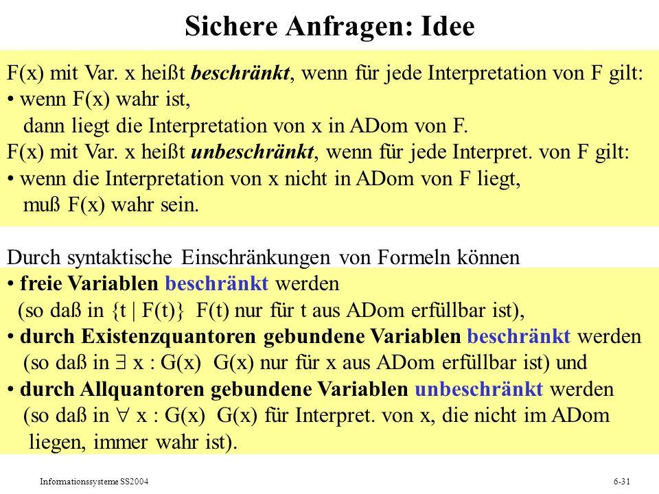 Informationssysteme SS20046-31 Sichere Anfragen: Idee F(x) mit Var. x heißt beschränkt, wenn für jede Interpretation von F gilt: wenn F(x) wahr ist, d