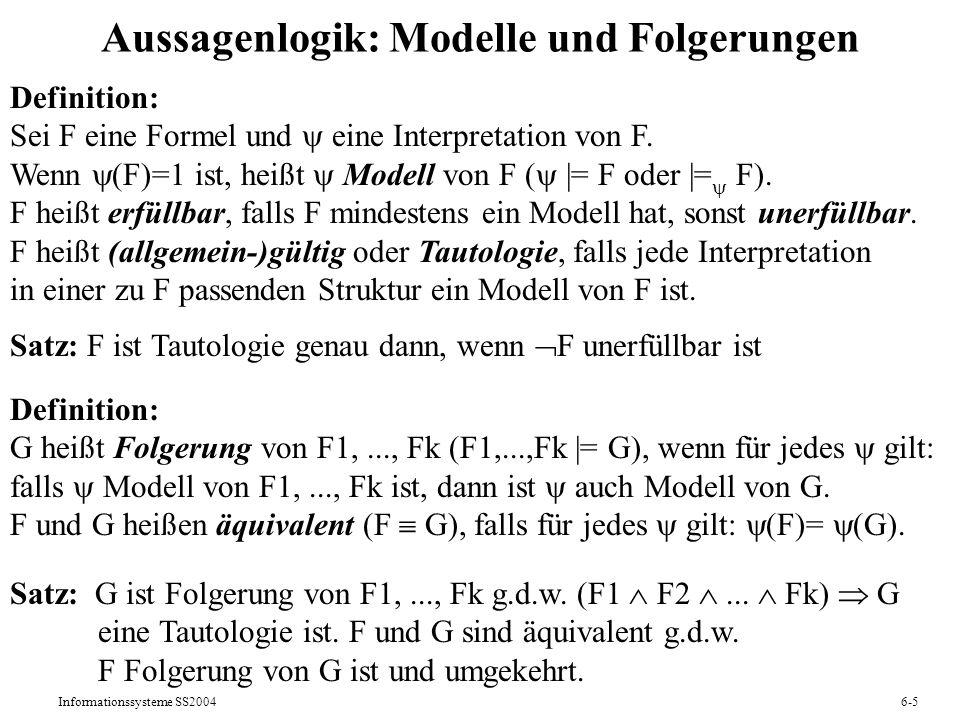 Informationssysteme SS20046-36 6.5 Datalog: Deduktionsregeln als Anfragesprache Extensionale Repräsentation von Information: Fakten, Tabellen Intensionale Repräsentation von Information: Regeln, Ableitungen Beispiel: intensionale Repräsentation von Flugverbindungen (V) auf der Grundlage einer extensionalen Repräsentation von Flügen (F) als Formeln des DRK: a, z: F (a,z) V (a,z) a, z, o: V (a,o) F (o,z) V (a,z) als Fixpunktgleichung in der RA: V = F ( V |x| [V.Zielort=F.Abflugort] F )
