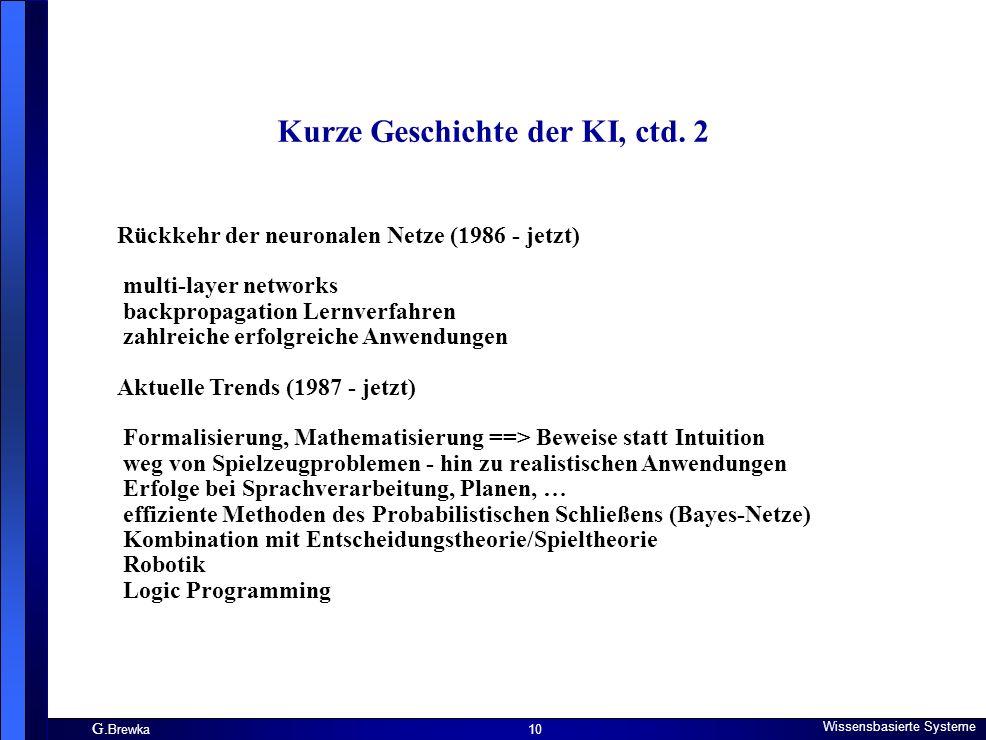 G. Brewka Wissensbasierte Systeme 10 Kurze Geschichte der KI, ctd. 2 Rückkehr der neuronalen Netze (1986 - jetzt) multi-layer networks backpropagation