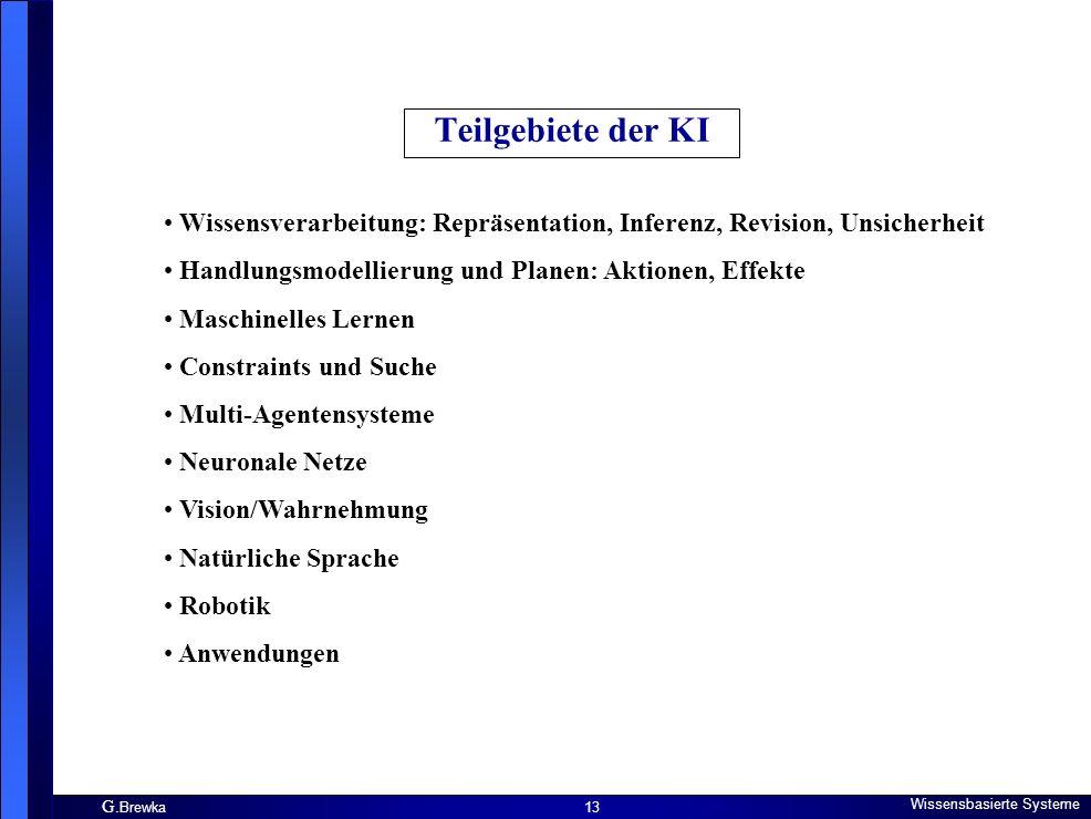 G. Brewka Wissensbasierte Systeme 13 Teilgebiete der KI Wissensverarbeitung: Repräsentation, Inferenz, Revision, Unsicherheit Handlungsmodellierung un