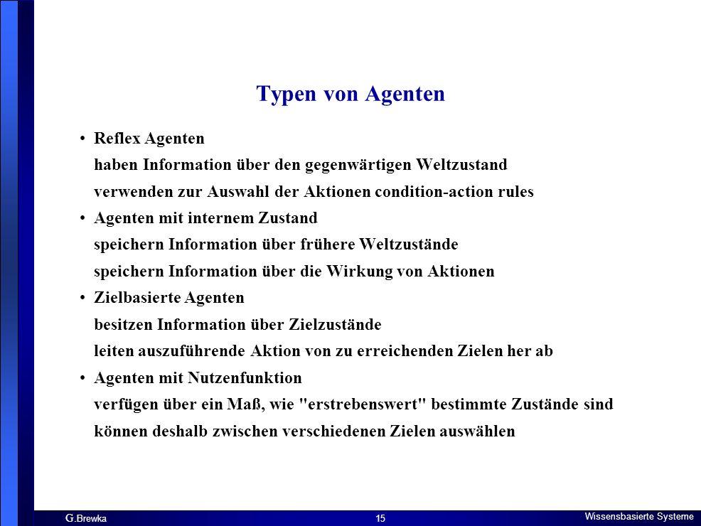 G. Brewka Wissensbasierte Systeme 15 Typen von Agenten Reflex Agenten haben Information über den gegenwärtigen Weltzustand verwenden zur Auswahl der A