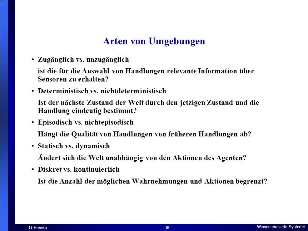 G.Brewka Wissensbasierte Systeme 16 Arten von Umgebungen Zugänglich vs.