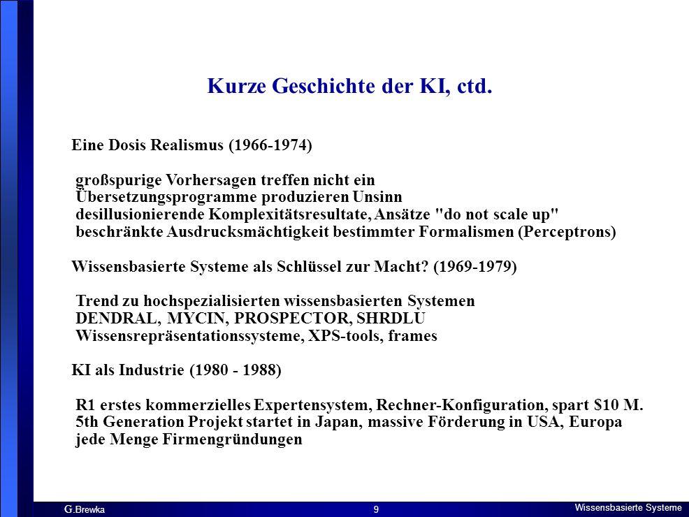 G. Brewka Wissensbasierte Systeme 9 Kurze Geschichte der KI, ctd. Eine Dosis Realismus (1966-1974) großspurige Vorhersagen treffen nicht ein Übersetzu