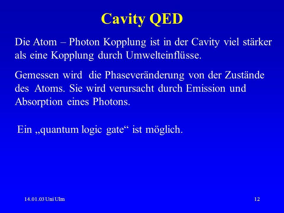 14.01.03 Uni Ulm12 Cavity QED Die Atom – Photon Kopplung ist in der Cavity viel stärker als eine Kopplung durch Umwelteinflüsse. Gemessen wird die Pha