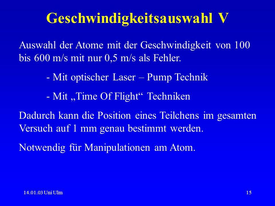 14.01.03 Uni Ulm15 Geschwindigkeitsauswahl V Auswahl der Atome mit der Geschwindigkeit von 100 bis 600 m/s mit nur 0,5 m/s als Fehler. - Mit optischer