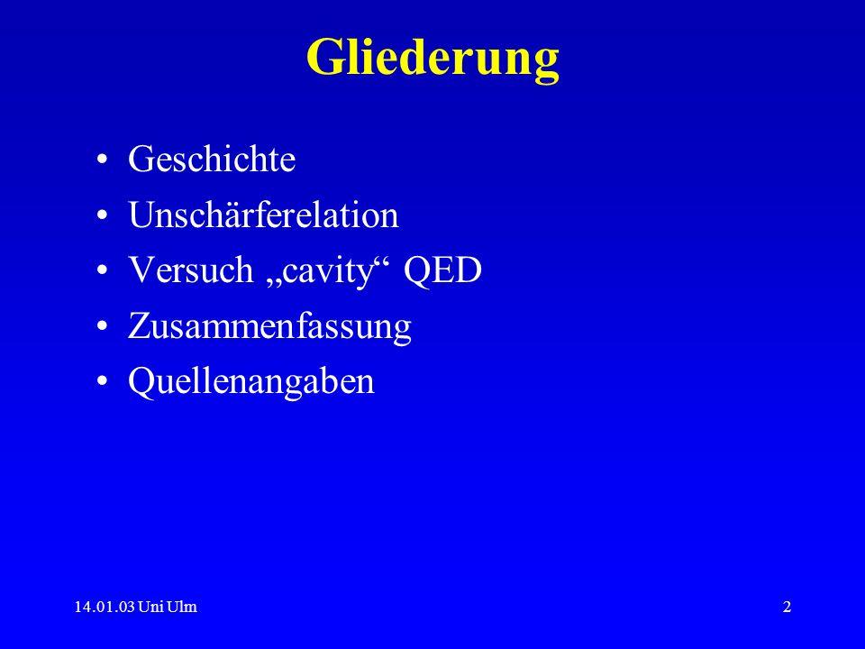 14.01.03 Uni Ulm2 Gliederung Geschichte Unschärferelation Versuch cavity QED Zusammenfassung Quellenangaben
