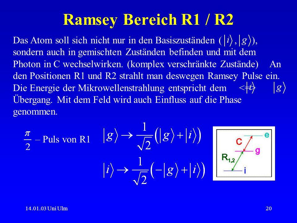 14.01.03 Uni Ulm20 Ramsey Bereich R1 / R2 Das Atom soll sich nicht nur in den Basiszuständen (, ), sondern auch in gemischten Zuständen befinden und m
