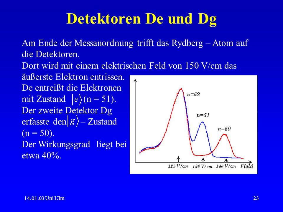 14.01.03 Uni Ulm23 Detektoren De und Dg Am Ende der Messanordnung trifft das Rydberg – Atom auf die Detektoren. Dort wird mit einem elektrischen Feld