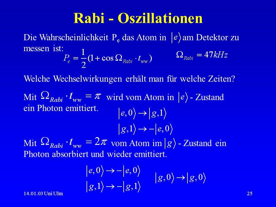 14.01.03 Uni Ulm25 Rabi - Oszillationen Die Wahrscheinlichkeit P e das Atom in am Detektor zu messen ist: Welche Wechselwirkungen erhält man für welch