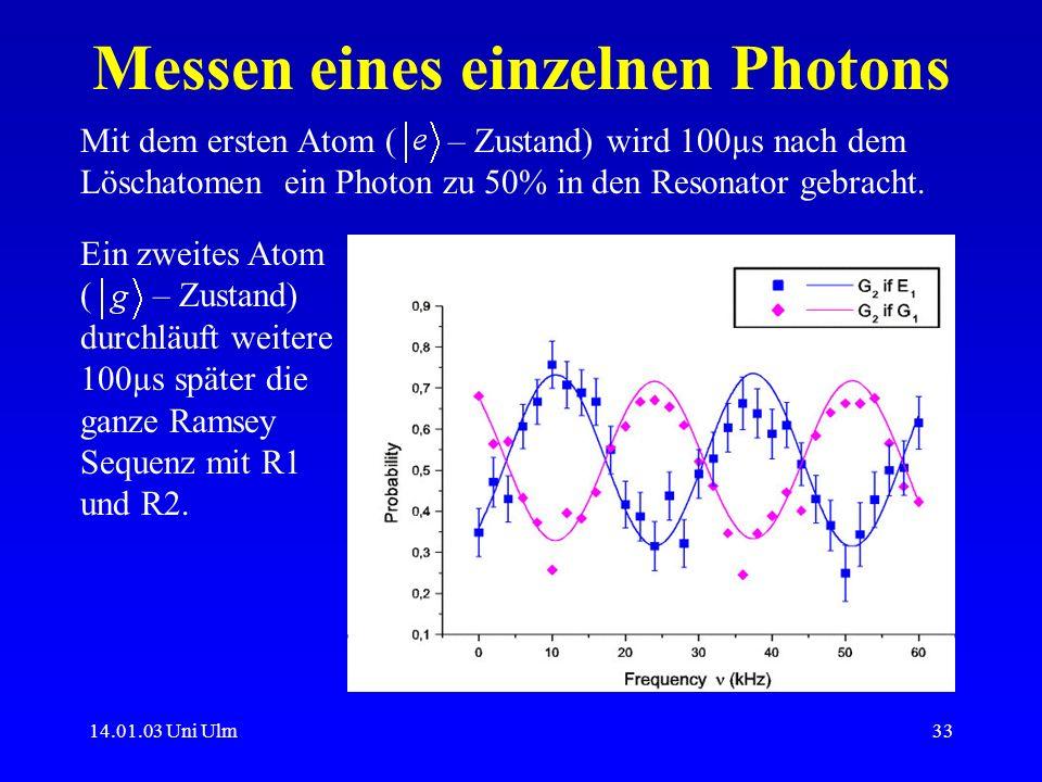 14.01.03 Uni Ulm33 Messen eines einzelnen Photons Mit dem ersten Atom ( – Zustand) wird 100µs nach dem Löschatomen ein Photon zu 50% in den Resonator