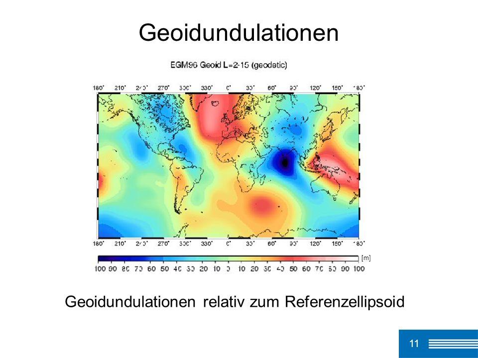 11 Geoidundulationen Geoidundulationen relativ zum Referenzellipsoid [m]