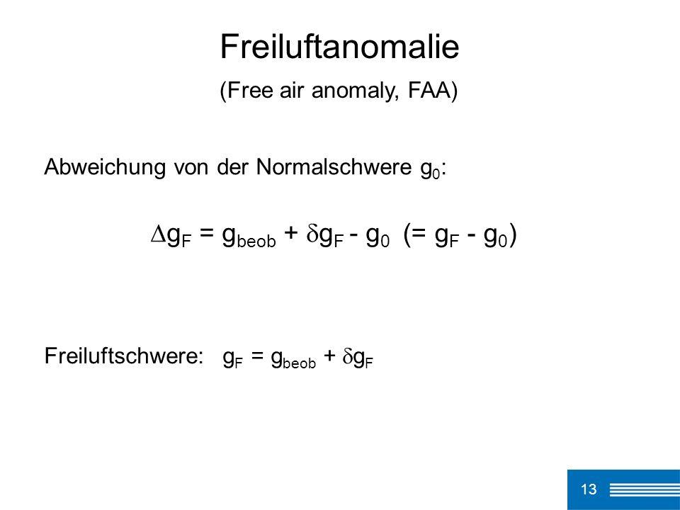 13 Freiluftanomalie Abweichung von der Normalschwere g 0 : g F = g beob + g F - g 0 Freiluftschwere: g F = g beob + g F (Free air anomaly, FAA) (= g F